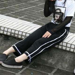 E36009 大碼闊腿褲(黑色)