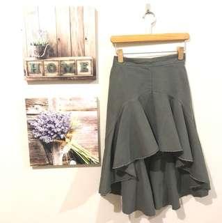 Ruffled asymmetrical skirt