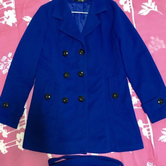 西裝領排釦風衣外套