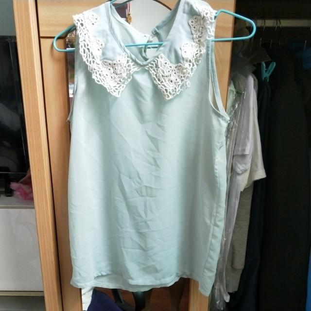 紡紗無袖上衣淺綠