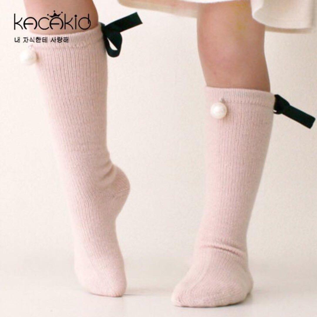 韓版珍珠蝴蝶結🎀全棉甜美公主襪👸(中筒襪)