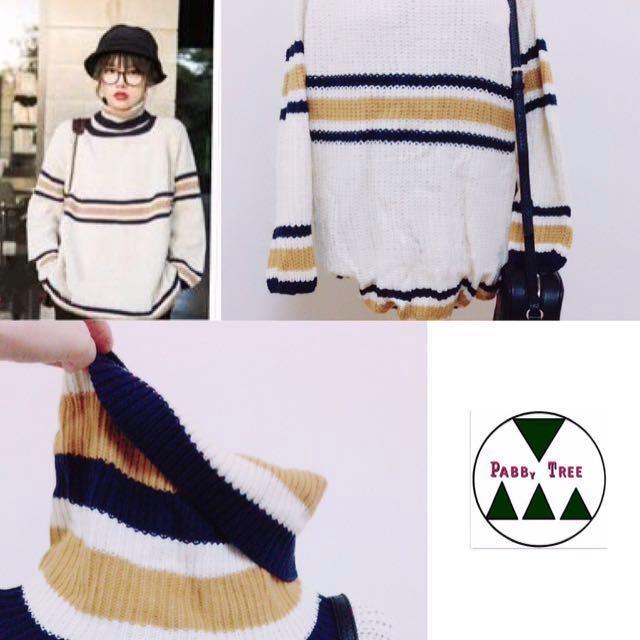 韓國米白高領撞色毛衣
