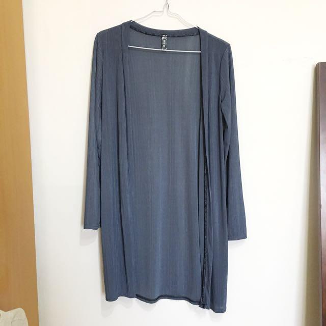 藍灰色長版罩衫,冷氣房大太陽都實穿#冬季衣櫃出清