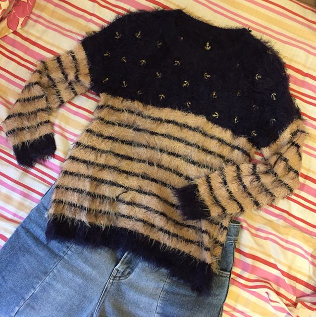 ⚓️海軍風 粉紅深藍條紋毛海毛衣