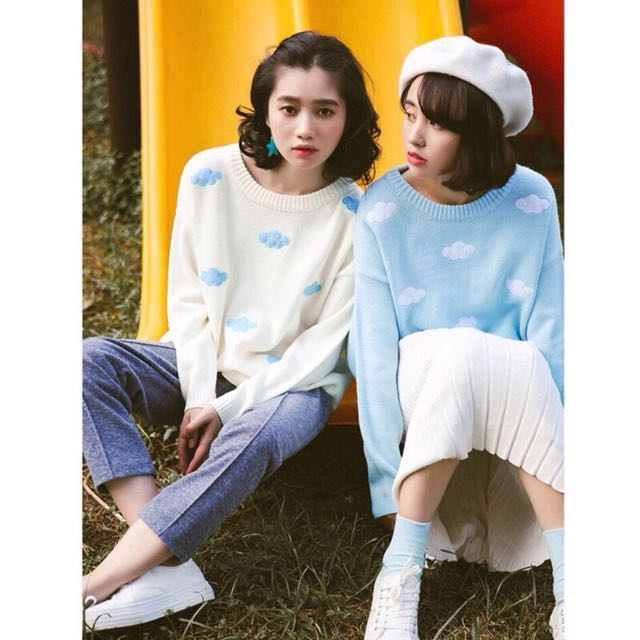 現貨 雲朵針織毛衣長袖上衣秋冬留下女裝韓版白色 #有超取最好買