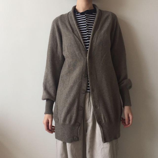 日本 設計師品牌 ZUCCa 毛料長版設計外套罩衫