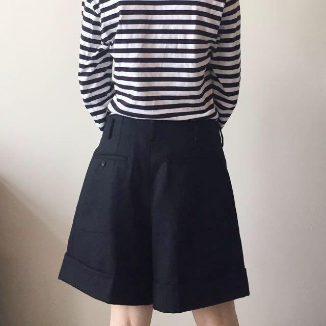 日本 COMME des GARÇONS 川久保玲 黑色毛呢短褲