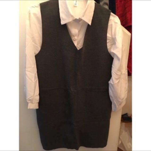 全新 白襯衫X灰裙口袋洋裝套裝 OL職場工作套裝 簡單素色素面 上班族專業套裝 可分開搭配