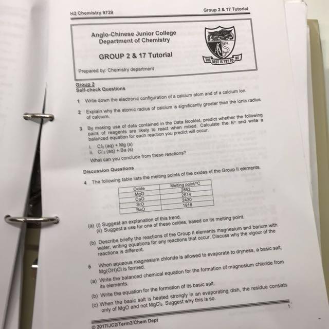 ACJC H2 Chemistry Notes 2017, Books & Stationery, Textbooks