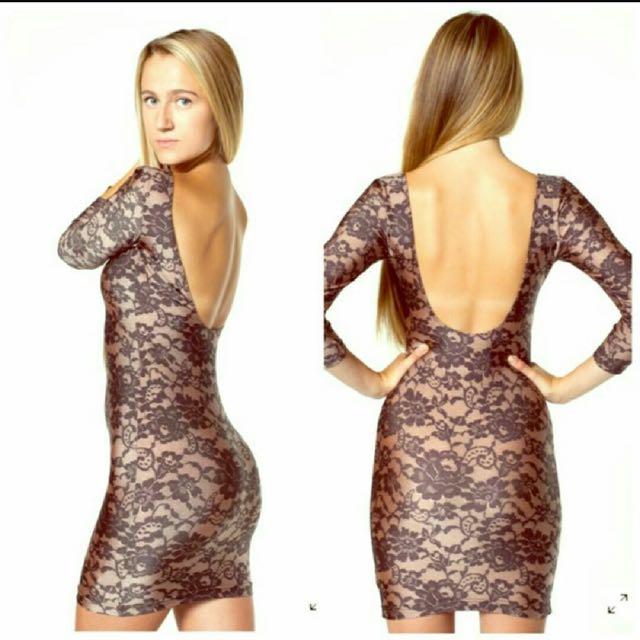 American Apparel Nylon Lace Print Dress