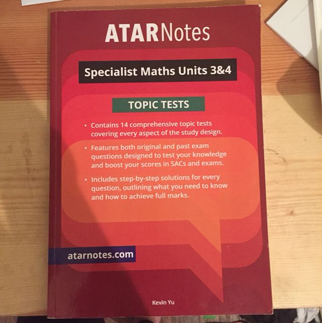 ATARnotes / Atar notes Topic Tests Specialist / Spesh / Spec Maths