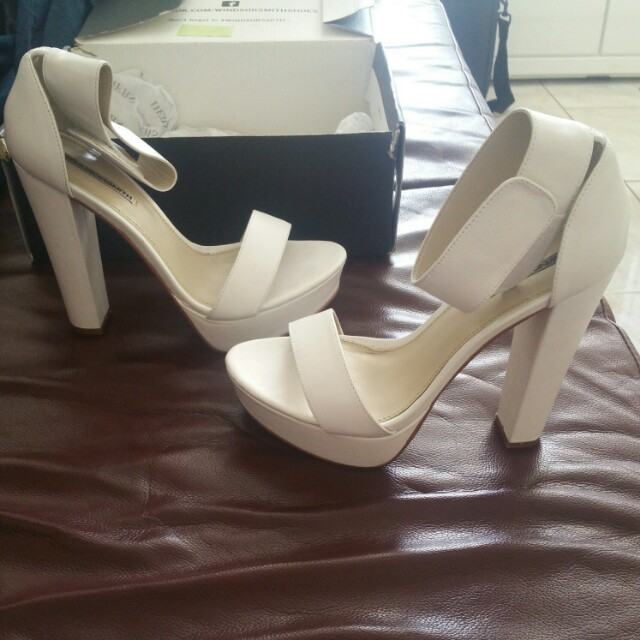 Authentic Windsor Smith white block heels with ankle strap