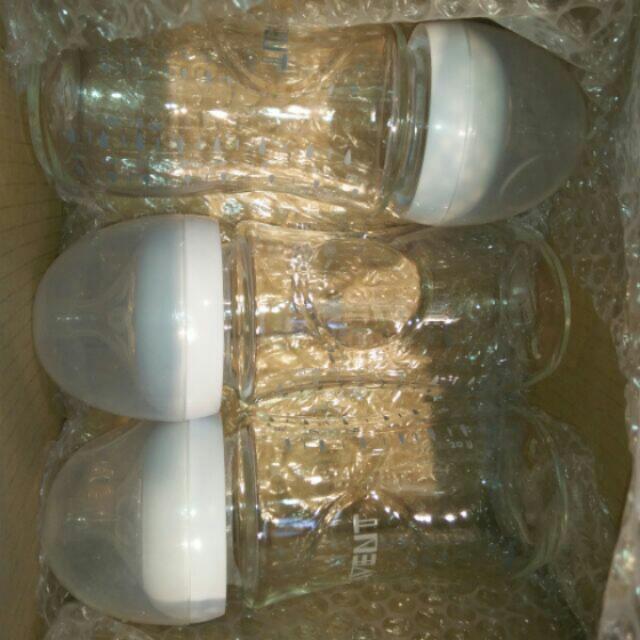 降價~近新avent玻璃奶瓶一大兩小三支