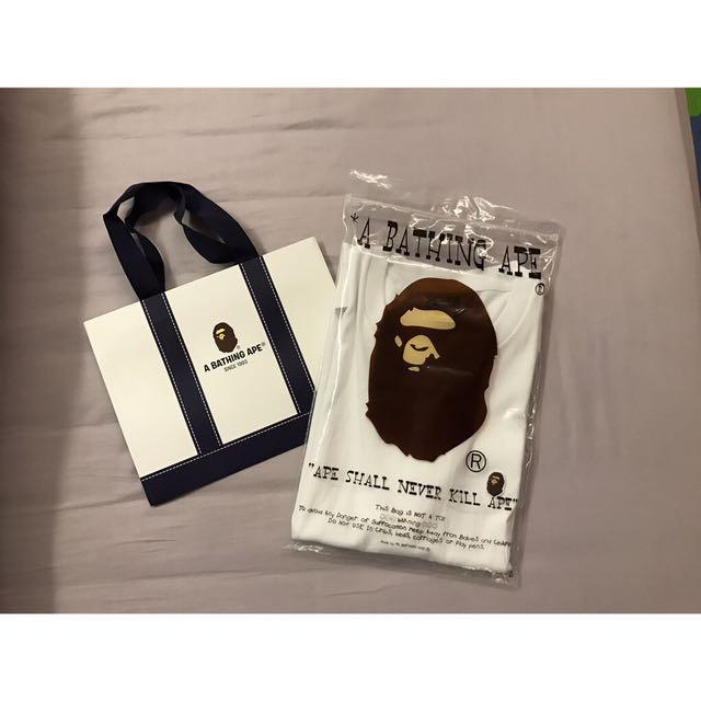 Bape Ape 新款猿人頭 白色短袖T桖《保證真品》