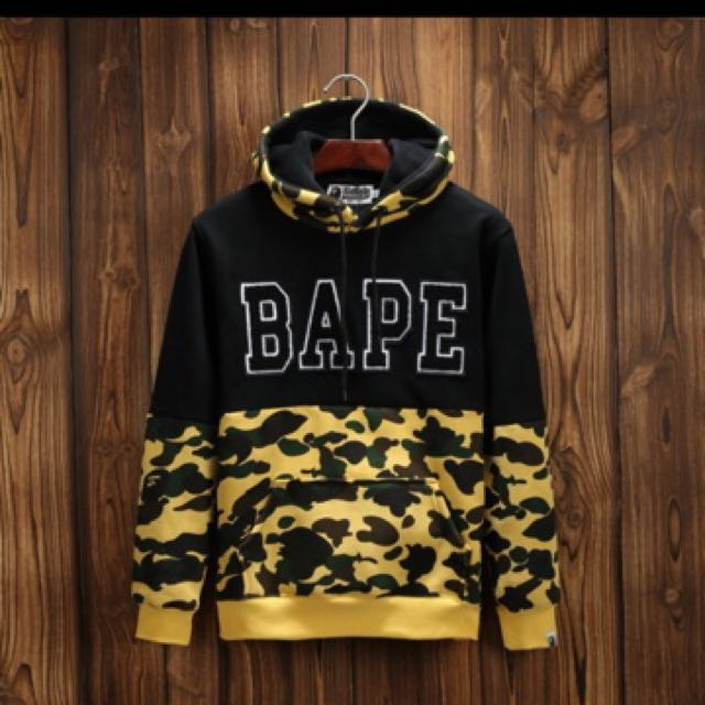 Bape First Yellow Camo Pullover Hoodie