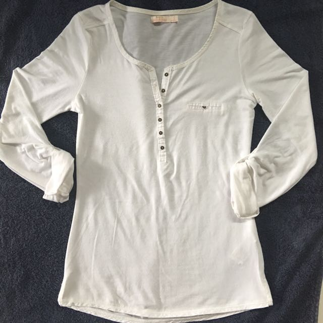Bershka white longsleeves shirt