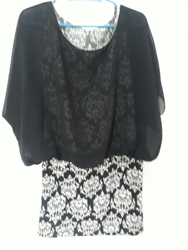 Black and White blouse dress