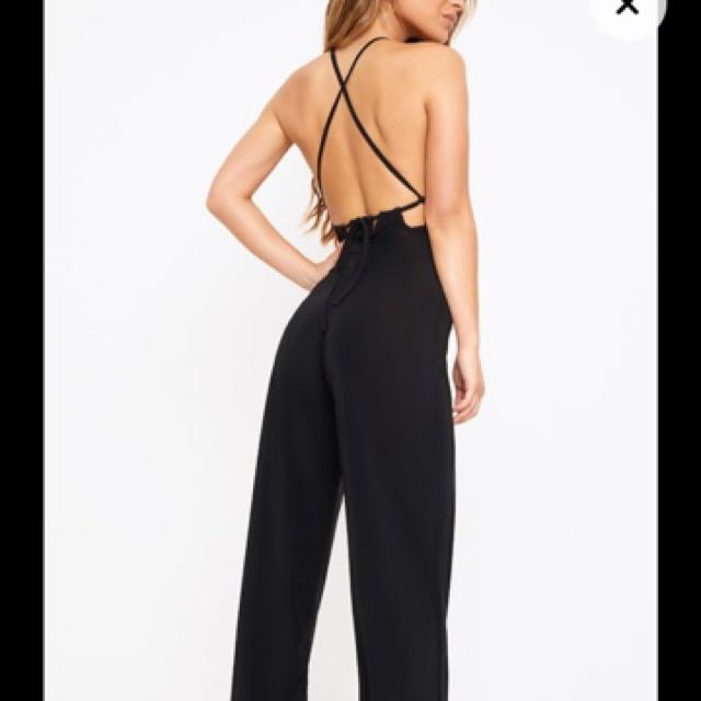 Black Halterneck Strappy Jumpsuit