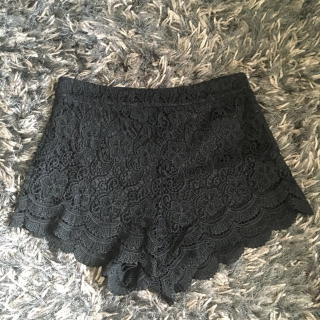 Black lace high waisted shorts