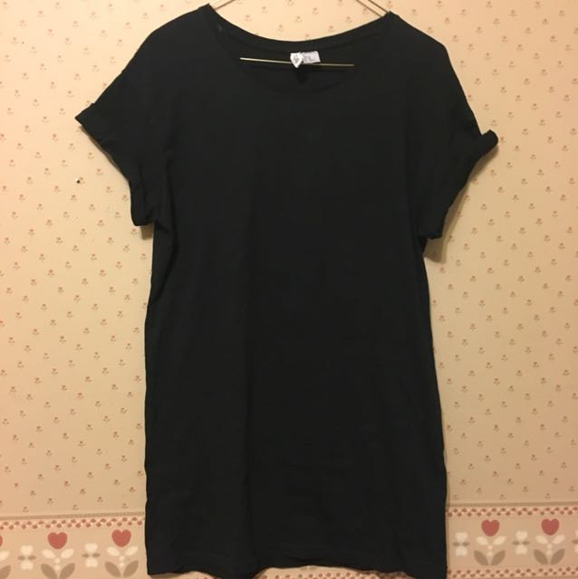 Black T-shirt dress-XS