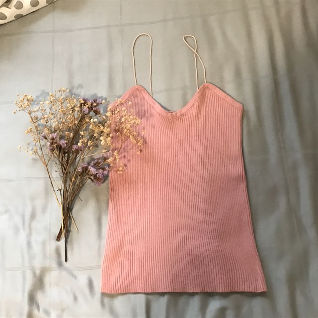 Blush Pink Ribbed Cami