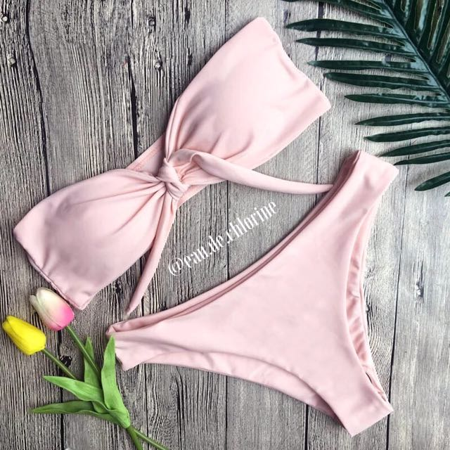 Blush Pink Tie Front Two Piece Swimsuit Bandeau Bikini Set