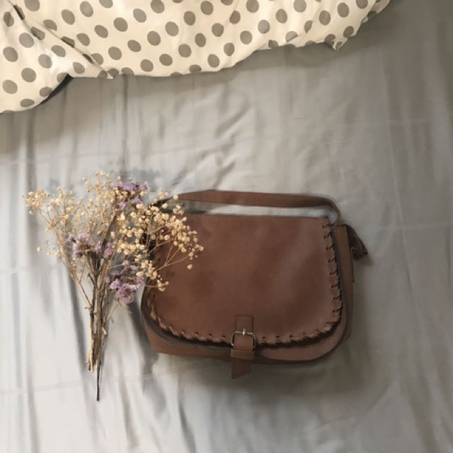 Boho Brown Woven Sling Bag