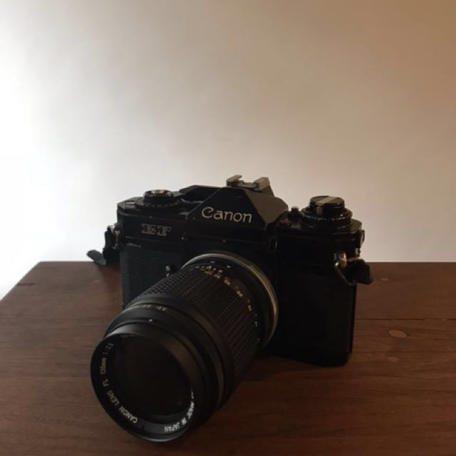 Canon EF film camera with 135mm f3.5 FL lens