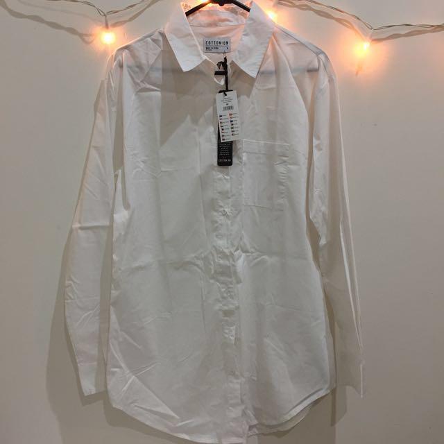 COTTON ON white long line shirt
