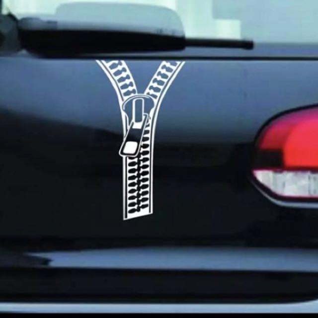 Creative Zipper Sticker White Car Accessories On Carousell