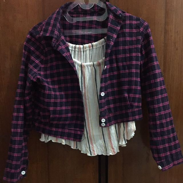 Crop tartan shirt