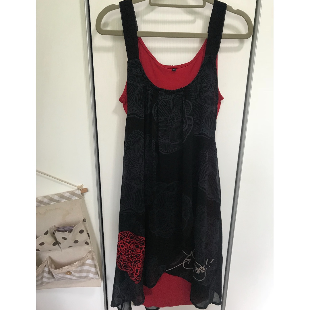 Desigual Black and Red Dress, Women\'s Fashion, Clothes, Dresses ...