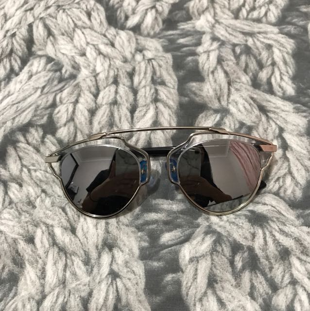 Dior inspired Silver reflective sunglasses