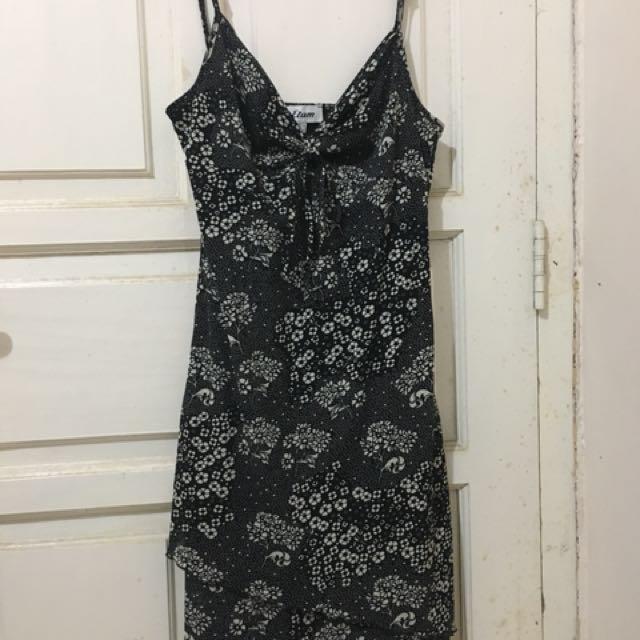 Etam Floral Black & White Dress