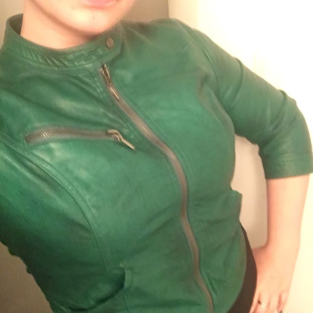 Faux leather motorcycle jacket green