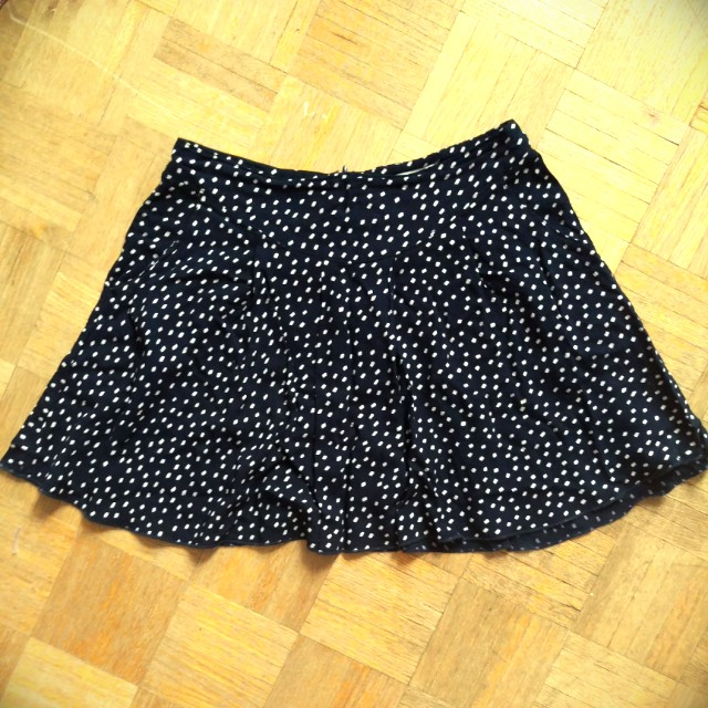 Flared polka dot mini skirt