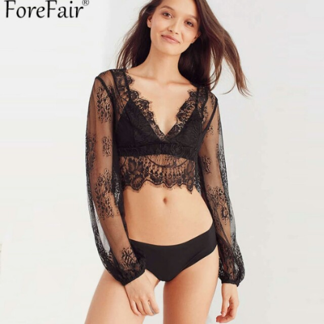 6a279f550bdba ForeFair Sexy See Through Black Lace T Shirt Women Party Club Tops Back  Button Lantern Sleeve V-Neck Crop Top