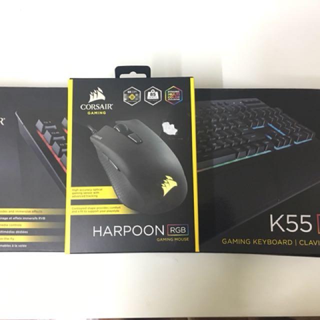 Gaming Bundle - Gaming Keyboard Corsair K55 RGB + Gaming Mouse Corsair  Harpoon RGB