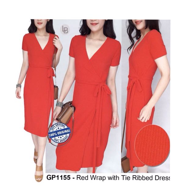 Gap Red Wrap with tie ribbed dress
