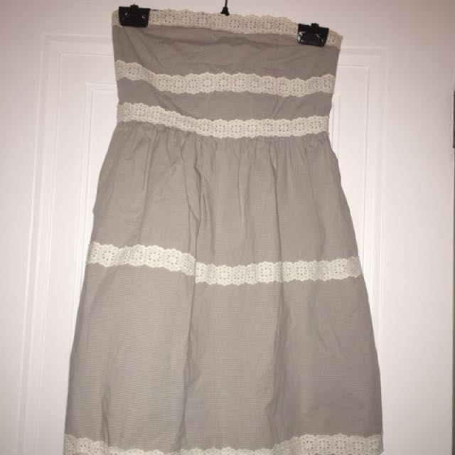 Grey and White strapless summer dress