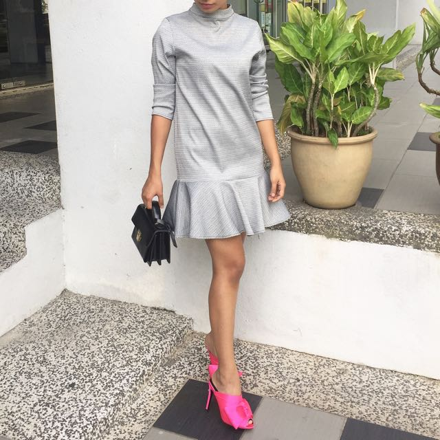 Grey Peplum Hem Dress