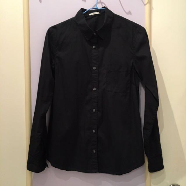 GU純棉黑色長袖襯衫#有超取最好買#冬季衣櫃出清