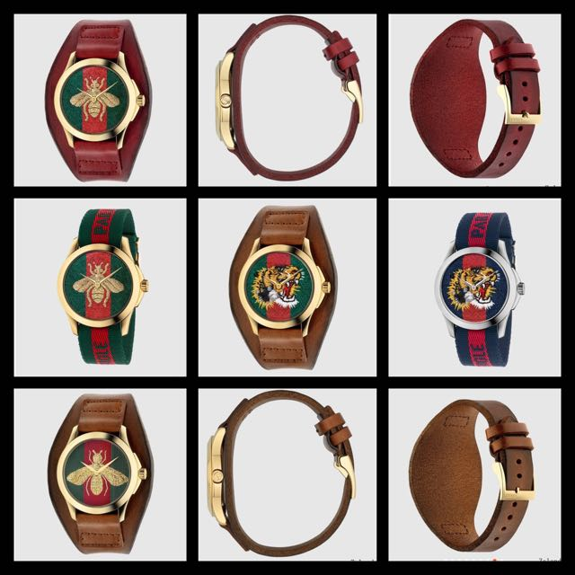 Gucci Bee Tiger Head Embroidered Logo Watch