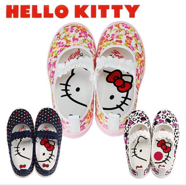 降價🙋🏻全新二手賣有實照-日本Hello Kitty2兒童21號室內/休閒/帆布鞋