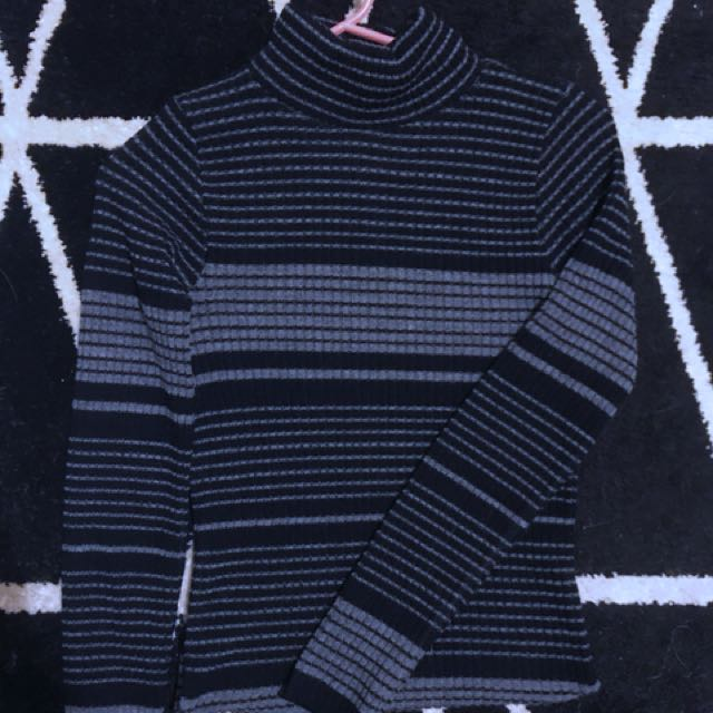 High Neck Stripe ribbed jumper/knit