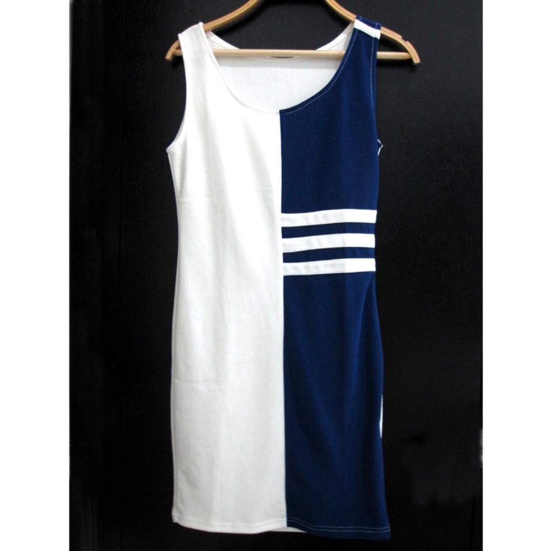 HK Blue White Dress