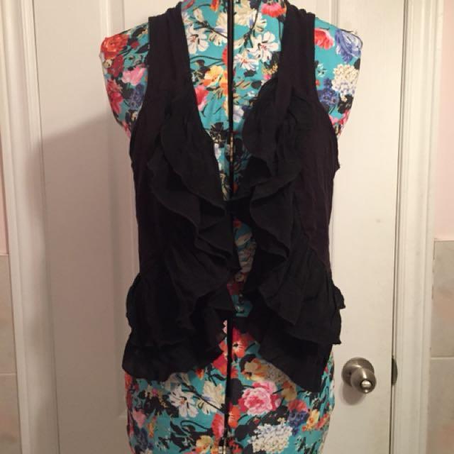 H&M black frilly vest
