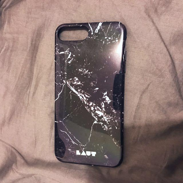 《二手》i7plus黑色大理石手機保護軟殼