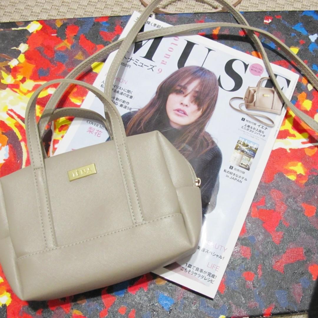 iena灰色皮質手提肩揹兩用包包 皮包 肩背 波士頓 muse 2016 9月 日本雜誌附錄