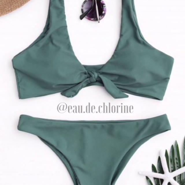 Istanbul Green Tie Knot Two Piece Swimsuit Bikini